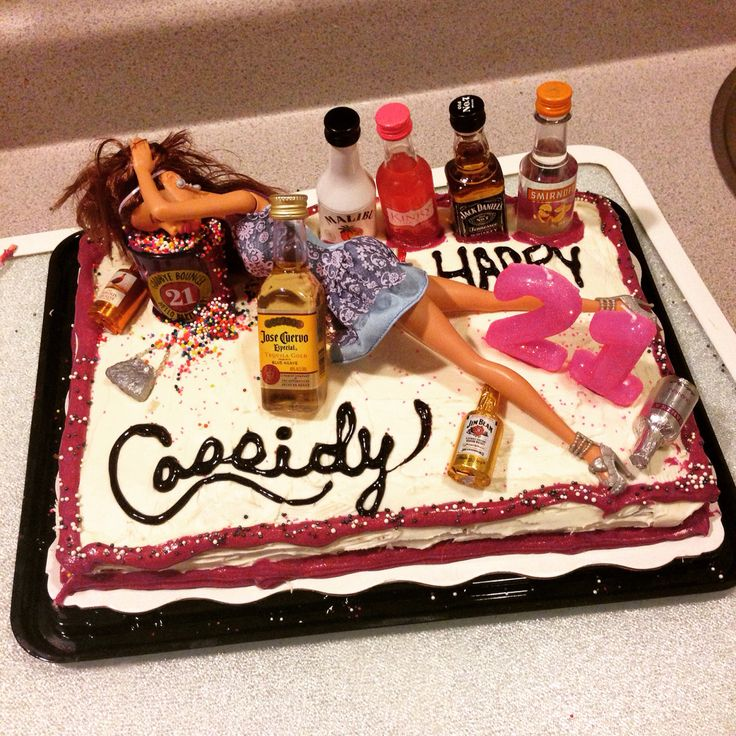 21st Birthday Barbie Cake I made for my friend! Used a 21 year old shot glass for the puke bucket for her to keep. Bought chocolate liquor for decorations.