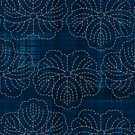 Sashiko: Hanami - Cherry Blossoms 2 Fabric By bonnie_phantasm on Spoonflower