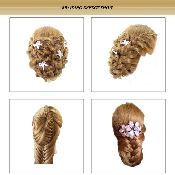"""Профессиональный 27 """" головы длинные волосы парикмахерские обучение начальник модель с зажимомкупить в магазине Five Star Outlet наAliExpress"""