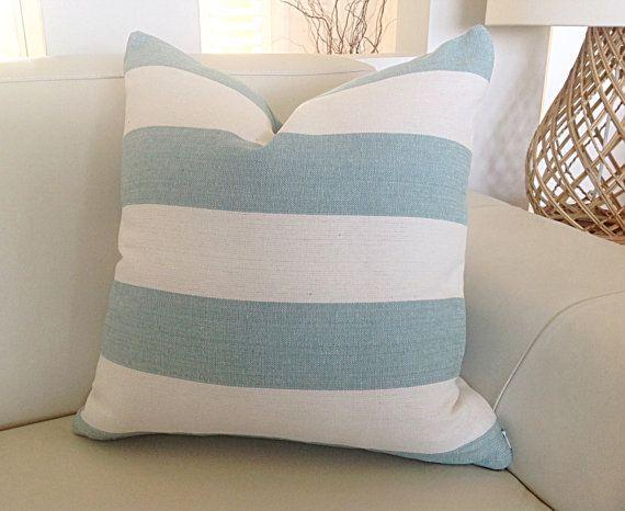 Coastal Cushions Striped Coastal Pillows Aquamarine, Ecru Stripes, Natural Coastal Hampton's Beach Decor Stripes Ocean Blue Designer Pillows