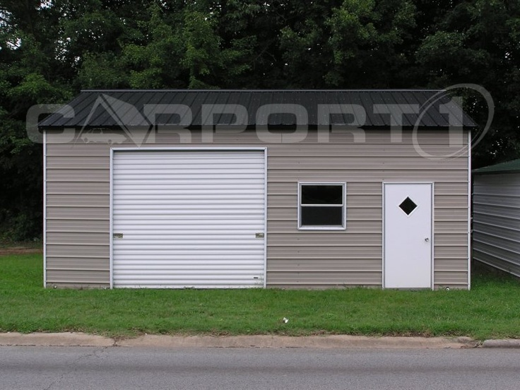 This small garage with side entry is used for storage. It