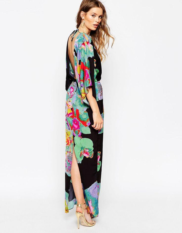 ASOS+70's+Kimono+Maxi+Dress+In+Placed+Black+Floral