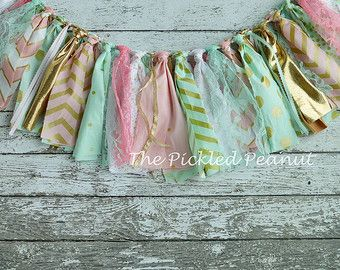 Pink Gold Birthday Banner High Chair Banner by ThePickledPeanut