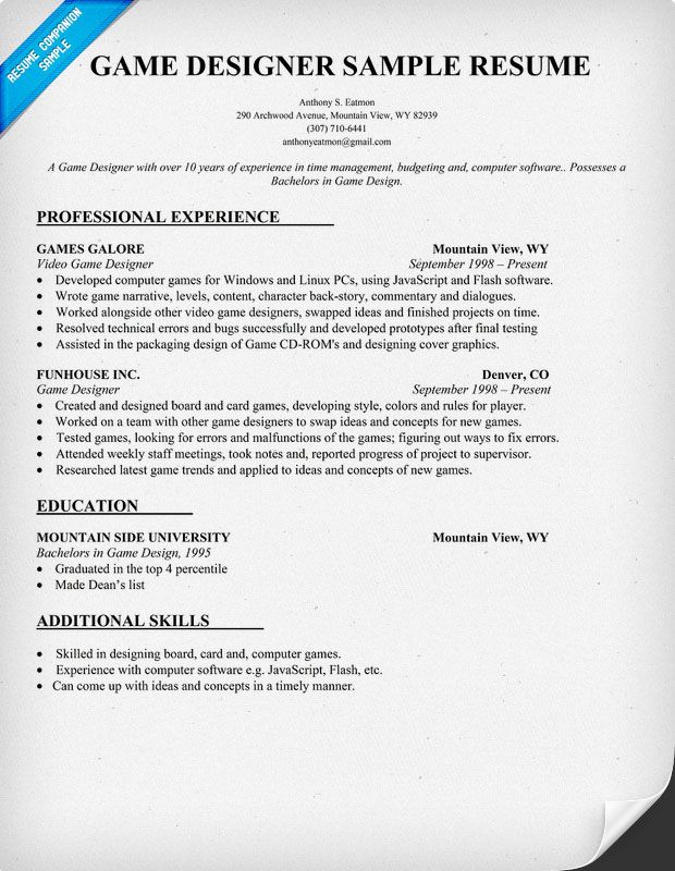 game designer resume sample  resumecompanion com