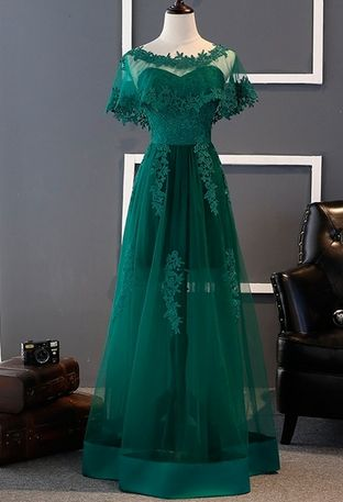 Green Long Lace Prom Dresses for Girls with Jacket Tulle Evening Dress Party for Graduation Promdress vestidos de baile