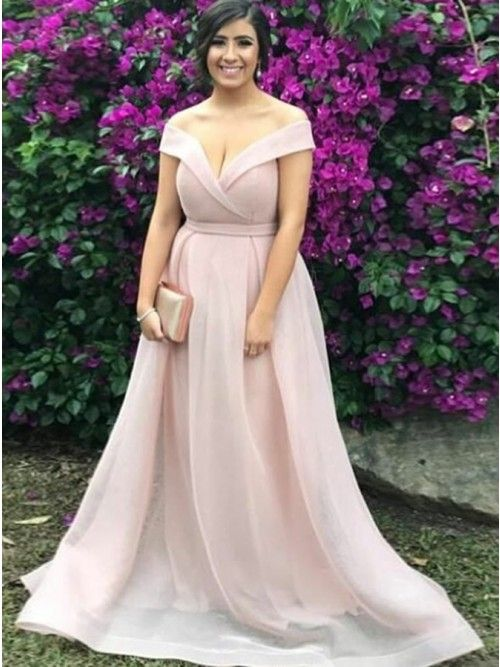 1b2360d8fc4 A-Line Off-the-Shoulder Pearl Pink Organza Prom Dress with Pleats -  94.99