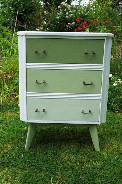 Vintage chest of drawers hand painted in tones of miss mustard seed milk paint lucketts green and Ironstone by Emily Rose Vintage