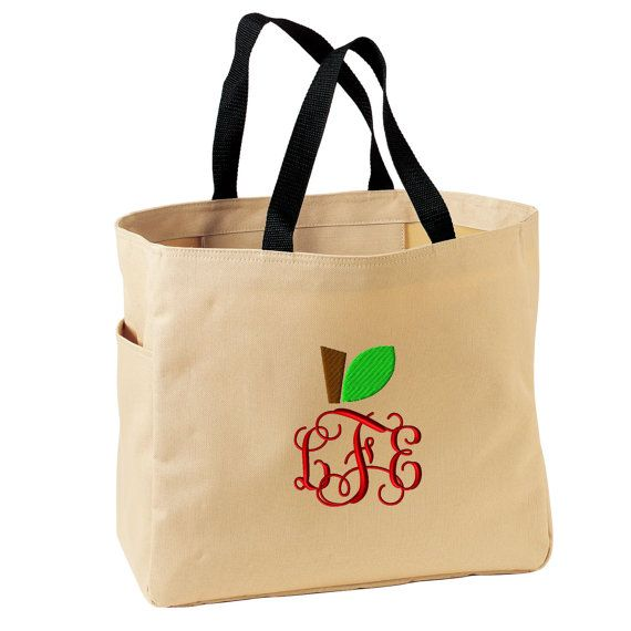 Teacher Tote Bag Monogrammed. Apple Monogram by Whynotstopnshop