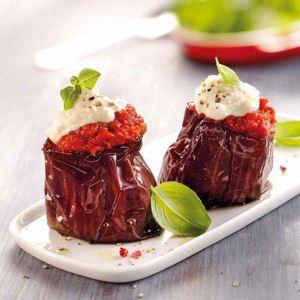 aubergines grillées à la tomate et à la brousse