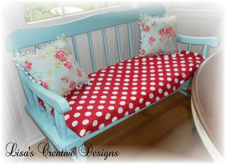 Cottage Style Aqua Bench With Red, Love