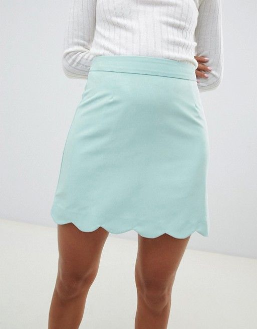 06fcdae7b8 DESIGN tailored a-line mini skirt with scallop hem in 2019   Intro ...