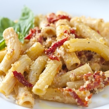 PASTA/CHICKEN. Pasta with sundried tomatoes. Add shredded chicken!