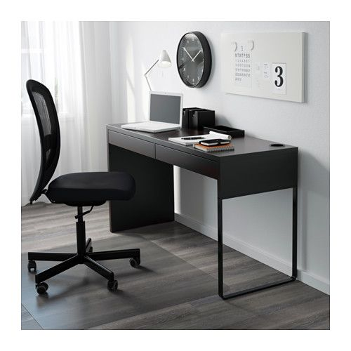 MICKE Desk, Black Brown Black Brown 55 7/8x19 5/8