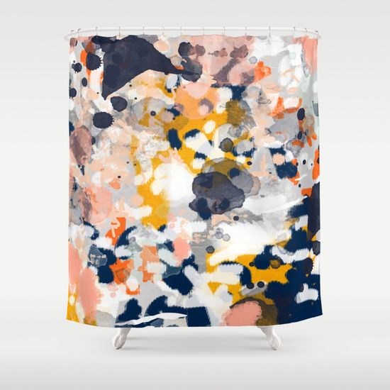 Stella  Abstract painting in modern fresh colors navy orange pink cream Gold Shower CurtainNavy Best 25 Navy shower curtains ideas on Pinterest Boys