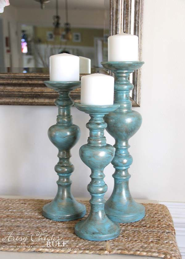 Painted Candlesticks - A little bronze and gold paint for instant elegance!! - artsychicksrule