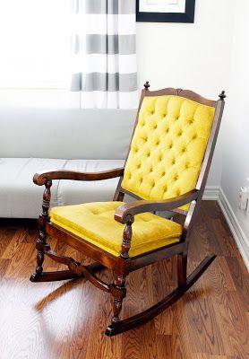AM Dolce Vita, Nursery Rocker, Rocking Chair, Vintage Rocker, Spanish Mission Style Chair, Tufted Chair, Nursery, Striped Curtains