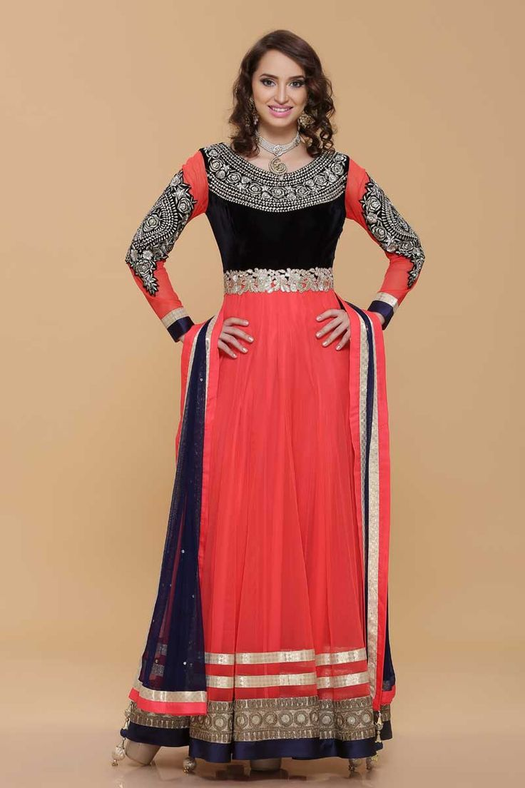 Pink Net Long Anarkali Suit Price:-£109.00 Pink net Anarkali. Neckline, belt & sleeves with resham, zari & sequence work. Contrast daman with zari & dori work. Net dupatta & shantoon churidar. http://www.andaazfashion.co.uk/pink-net-long-anarkali-suit-1639.html