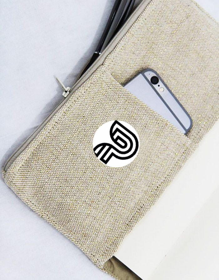 Logo Printed Cotton Canvas Business Notebook Bag - Handbag-Asia.com | Luxury Invitations, Hand-Made Stationary, Packaging & Bags
