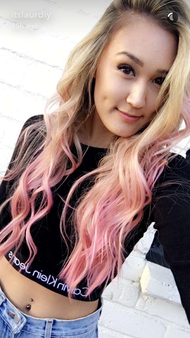 Laurdiy Lauren Riihmaki mermaid pink dip dyed dye hair pretty