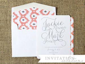 save the date . ikat pattern envelope  liner