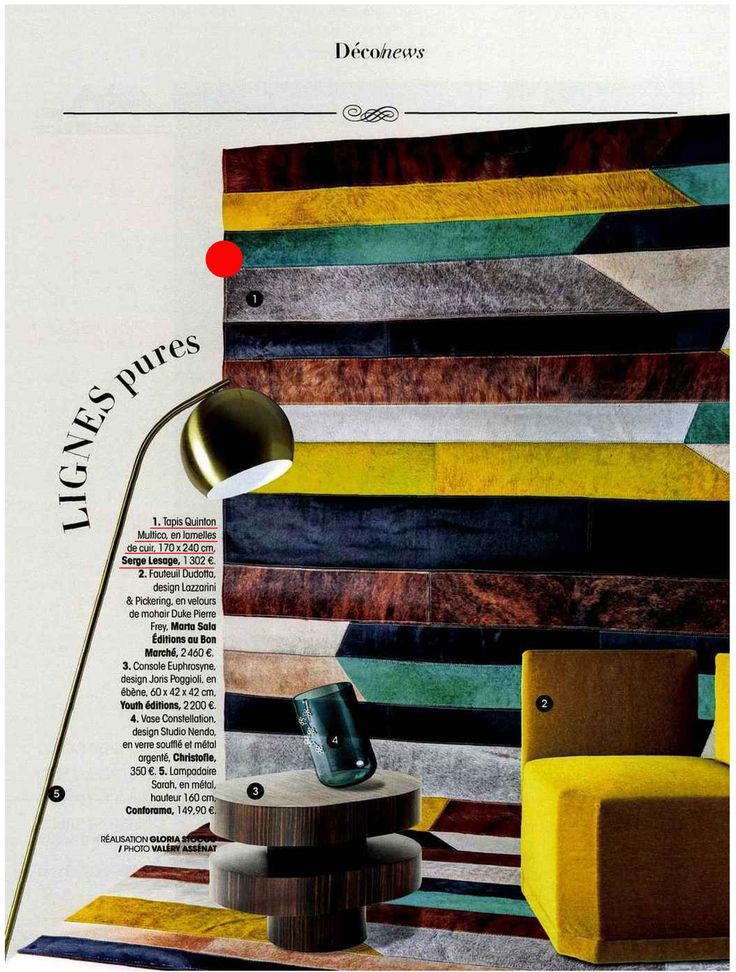 Our new leather rug, Quinton staging in the last issue of Madame Figaro Magazine 'Special Deco' !