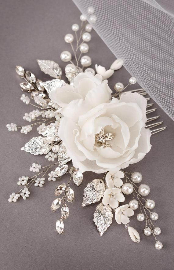 White Bridal hair Flower Ivory Hair Flowers Wedding Floral hair comb White Bridal Hair Clip Ivory Bridal Flower Comb Silk Flower hair piece