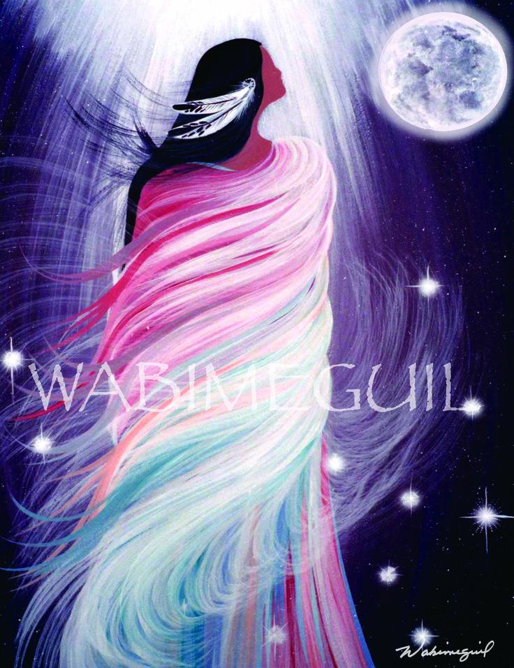 Grandmother Moon Teachings  - April Moon - by Wabimeguil  Custom Prints I Canvas, Acrylic, Framed