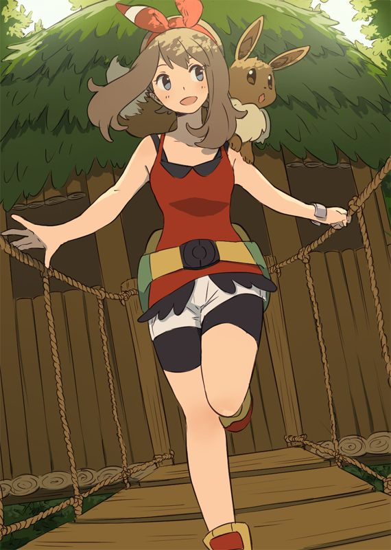 1girl ai-wa bike_shorts blue_eyes brown_hair eevee hair_ribbon haruka_(pokemon) haruka_(pokemon)_(remake) open_mouth pokemon pokemon_(game) pokemon_oras ribbon shirt short_hair shorts sleeveless sleeveless_shirt treehouse