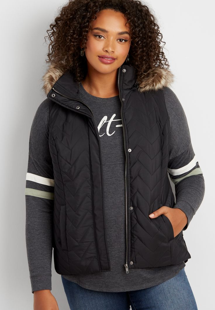 plus size chevron puffer vest with removable hood (original price, $69.00) available at #Maurices