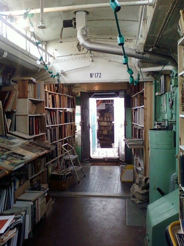 An old train transformed into a book shop in Auvers-sur-Oise
