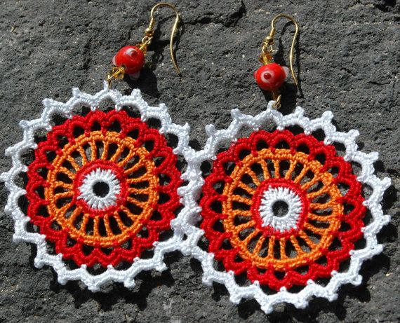 Crocheted  Earrings in  Red  White and Orange by lindapaula, €11.00: Orange, 11 00, 11 Crochet, Crochet Jewelry, Crocheted Jewerly, Accessories, Red White