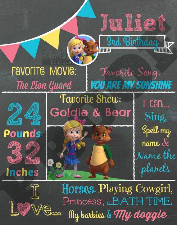 Goldie & Bear Birthday Chalkboard / 1st by TinasDabbleBoutique