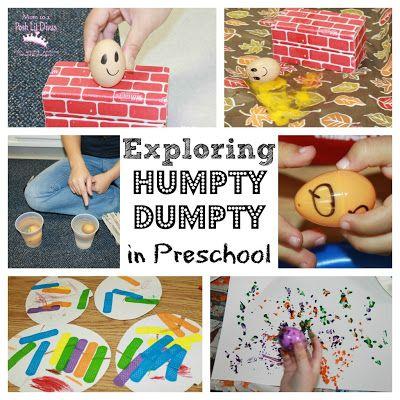 exploring Humpty Dumpty in preschool - art, crafts, science, play & literacy activities