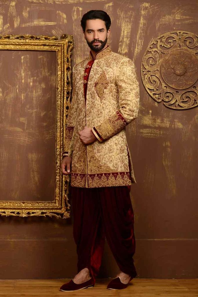 Gold Color Readymade Wedding Sherwani 23261 #onlineshopping #shopping #shoppingobsessed #fashion #style #ethnicwear #ethnicfashion #mensfashion #menstyle