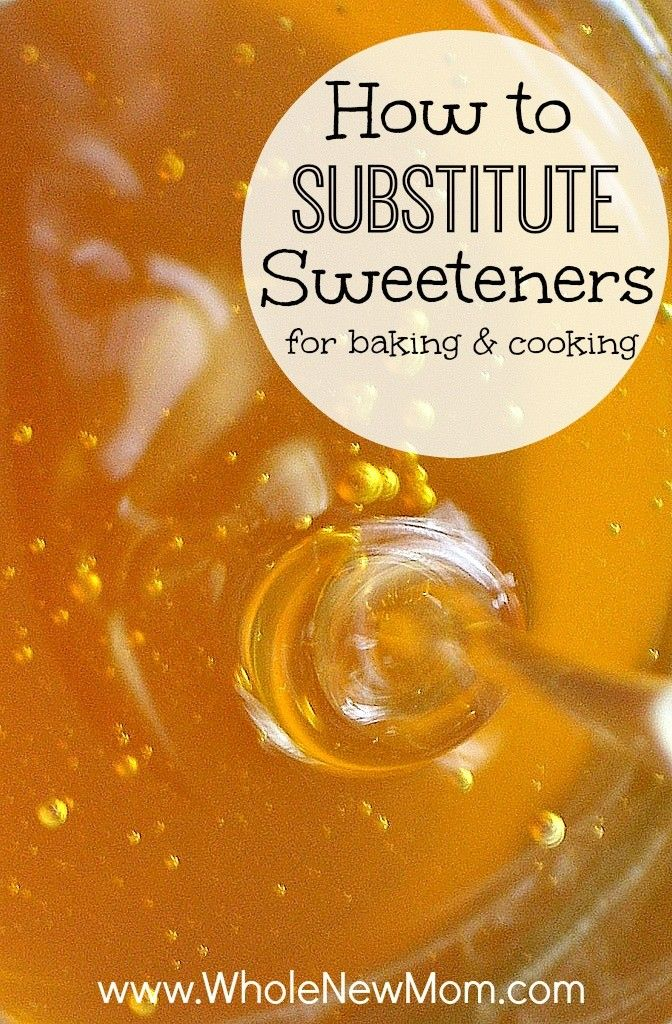 Need to substitute honey for sugar or maple syrup for honey? Find out how to substitute sweeteners for baking and cooking. If you are switching to baking with honey and maple syrup and other sweeteners for health reasons, or you've just run out of a sweetener and need to use another, this post can help. via @wholenewmom