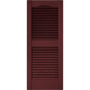 louvered shutters pair wineberry model at the home depot - Shutters Home Depot