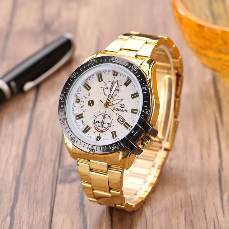 17.99$  Buy now - http://ali2gs.shopchina.info/1/go.php?t=32779465752 - New Arrival Brand Quartz Gold Watch Men Stainless Steel Band Watch Men Big Good Quartz Watch Cool Men Dress Watch  #aliexpressideas