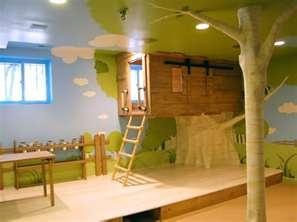 kids room with tree house