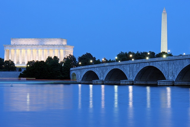 The Potomac River and Washington DC during the Blue Hour by ianseanlivingston, via Flickr