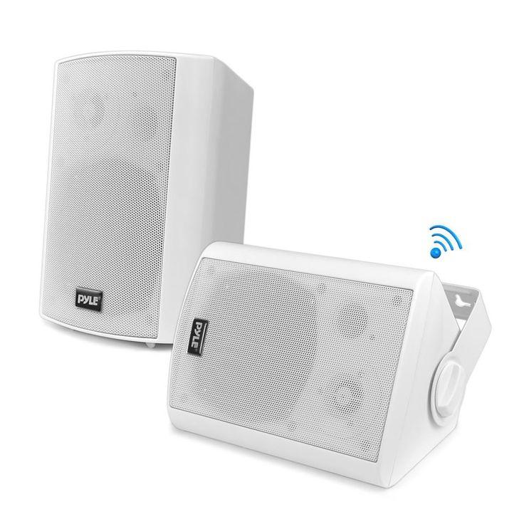 Wall Mount Waterproof & Bluetooth 5.25-in Indoor / Outdoor Speaker System, White (Pair)