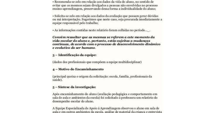 Modelo Relatório Pedagogico Aluno Especialpdf Equipe De