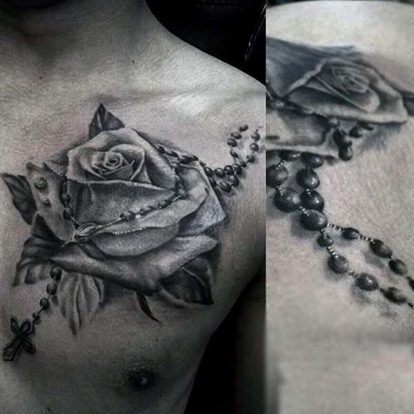 Top 103 Rosary Tattoo Ideas 2020 Inspiration Guide Rosary Tattoo Tattoos For Guys Rose Chest Tattoo