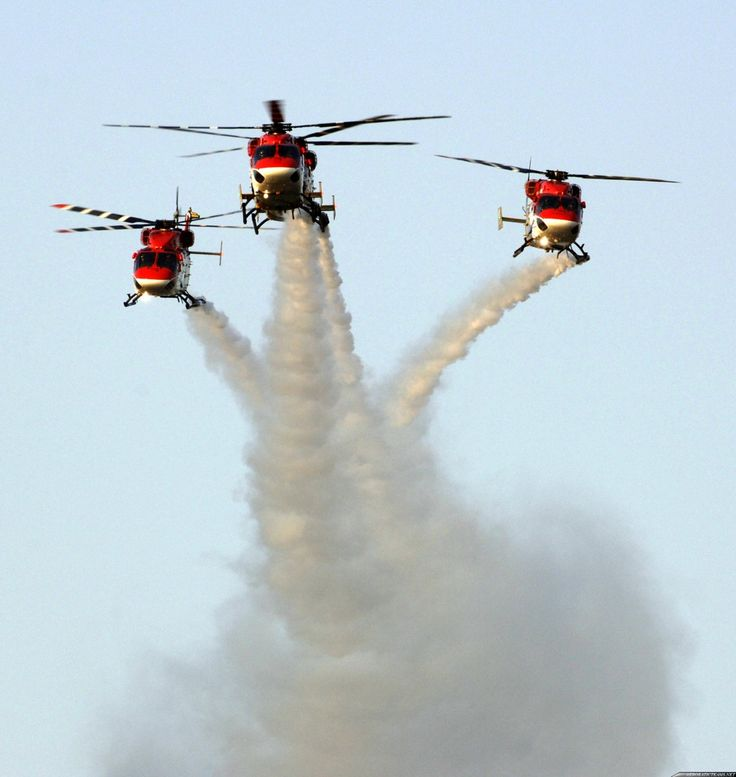 """abingdonboy: """" Sarang (Sanskrit: सारंग - Peacock) is the helicopter display team of the Indian Air Force. The team flies four modified HAL Dhruv helicopters, also known as ALH (Advanced Light..."""