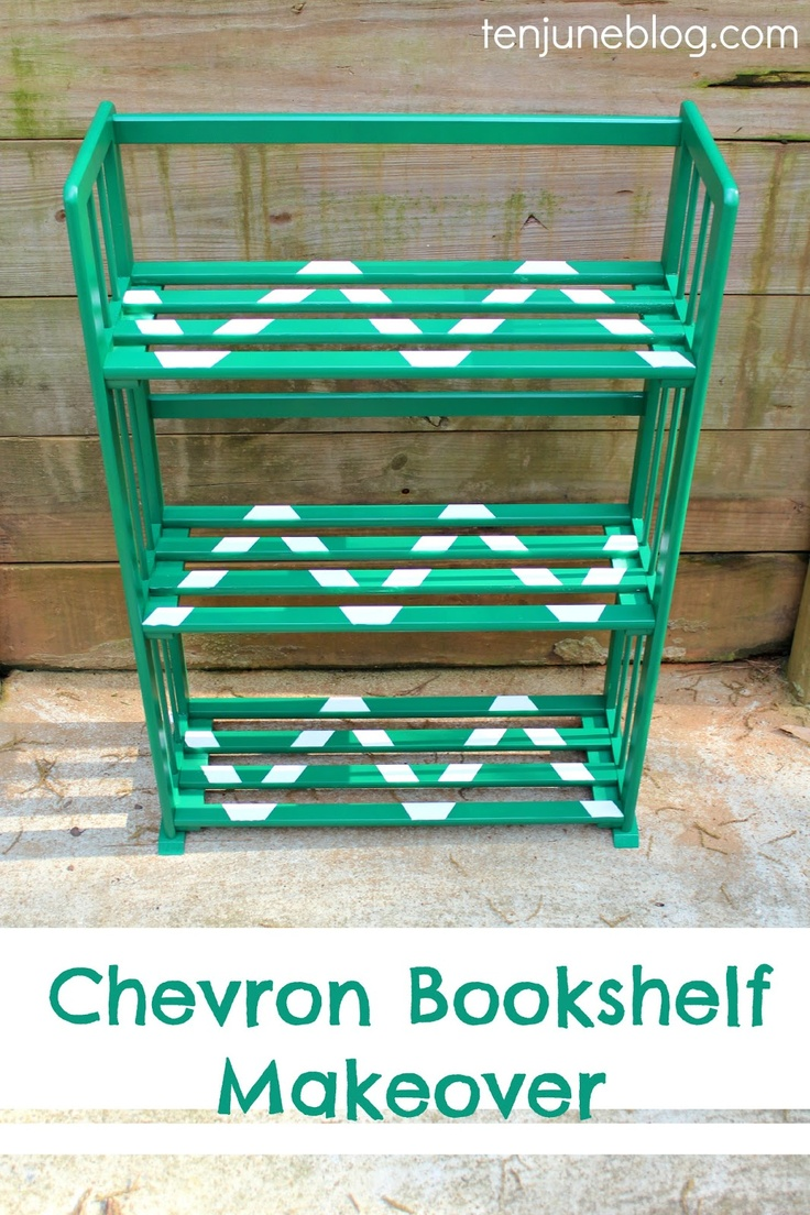 Ten June: Chevron Painted Bookshelf Makeover