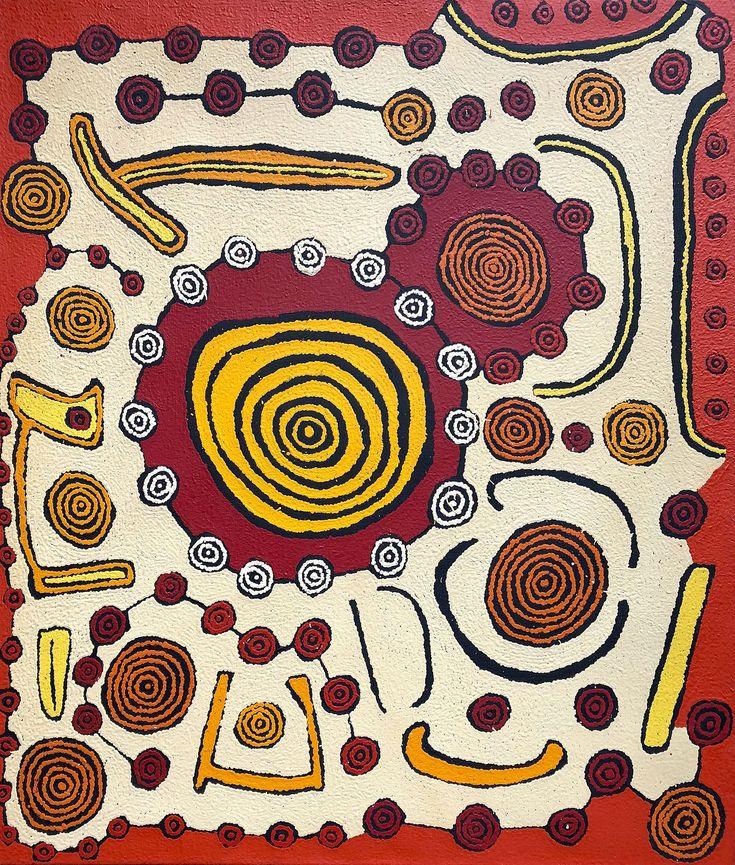 Morris Gibson Tjapaltjarri - Tingari stories Dreaming Time Stories - 107 x 91 cm http://www.aboriginalsignature.com/art-aborigene-papunya-tula/morris-gibson-tjapaltjarri-tingari-stories-dreaming-time-stories-107-x-91-cm