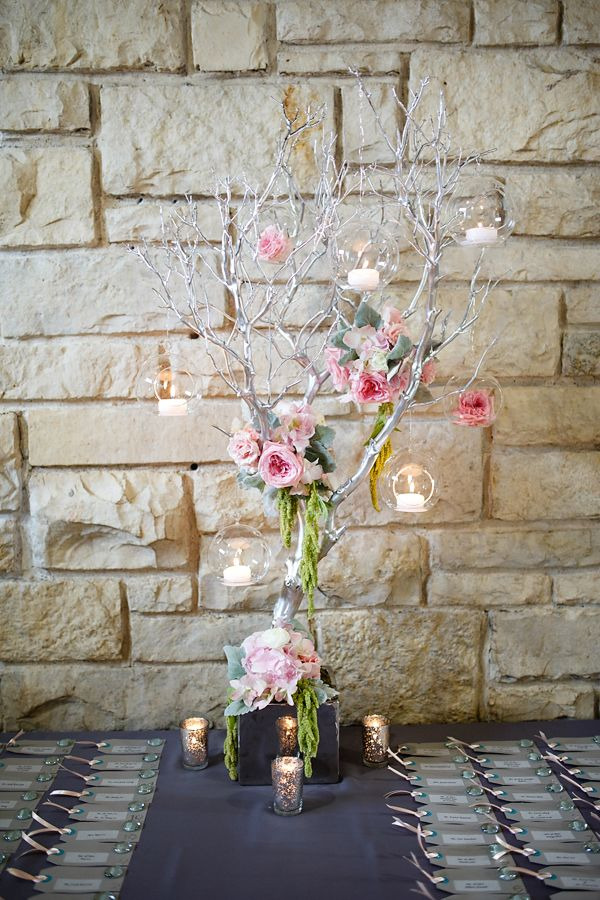 Kina Wicks Photography. Vale of Enna flowers. Garden Rose. Dendrobium Orchid. Hanging Amaranthus. Dusty Miller. Manzanita. Pink, Green, Grey, and Silver. Escort Card Table. Chicago Wedding.