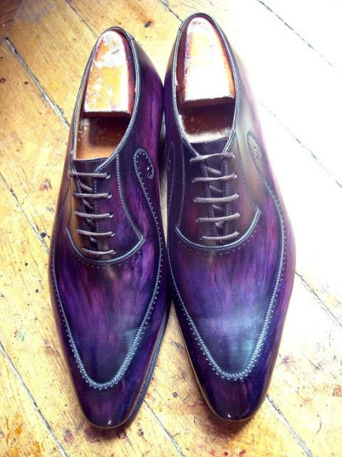 Purple patina created by Paulus Bolten on a pair of J.M. Weston shoes  http://www.theshoesnobblog.com/