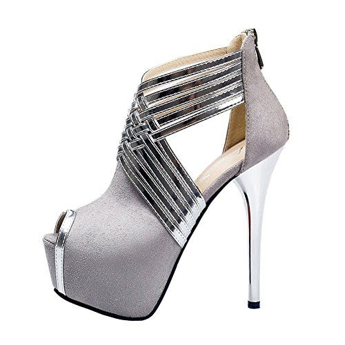 """Fereshte Womens Sexy Fashion Peep-toe Stripe Sandals Super High Heels Gray EU Size 40 - US B(M) 9... Elegant ol pumps with great material is necessary for any occasion.Platform Height: 5cm/0.72""""Made of Superior material, Special Sexy design, but also comfy.Occasion: Casual/Formal, Party, Office, Wedding, Club, Prom etc.We're glad to help you for any problems, so please contact us......http://bit.ly/2u6K32y"""