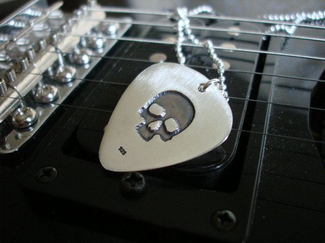 Silver Guitar Pick-SKULL by art1jewel on Etsy