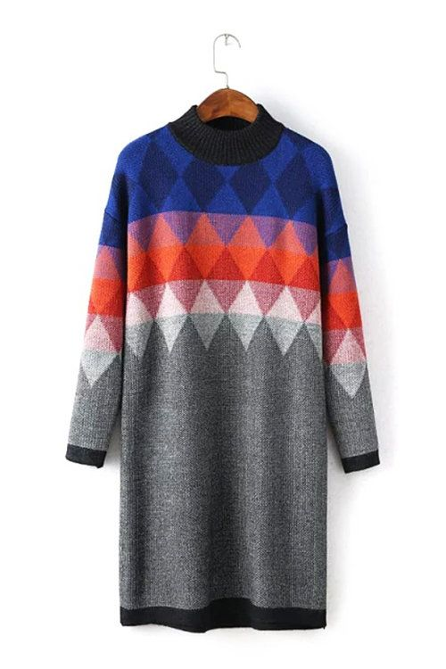 Geo Jumper Dress with High Neck - US$41.95 -YOINS